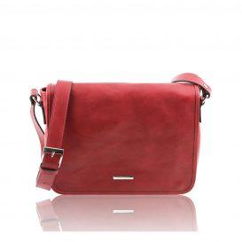 イタリア製・本牛革ベジタブルタンニンレザーのメッセンジャーバッグ - Mサイズ TL MESSENGER・レッド・赤
