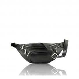 イタリア製ベジタブルタンニンレザーのウェストバッグ、ブラック