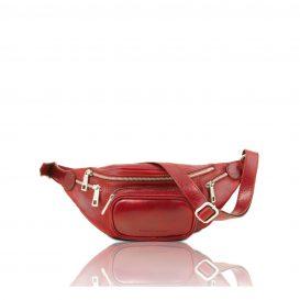 イタリア製ベジタブルタンニンレザーのウェストバッグ、レッド