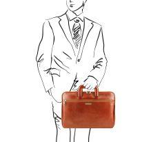 イタリア製ベジタブルタンニンレザーのビジネスバッグ CASERTA、ハニー、詳細