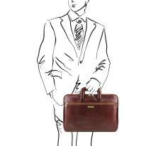 イタリア製ベジタブルタンニンレザーのビジネスバッグ CASERTA、ブラウン、詳細