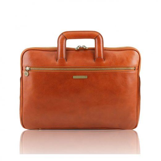 CASERTA イタリア製ベジタブルタンニンレザーのビジネスバッグ、ハニー、茶系