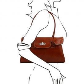 ROSITA ベジタブルタンニンレザーのクラシカルなショルダーバッグ