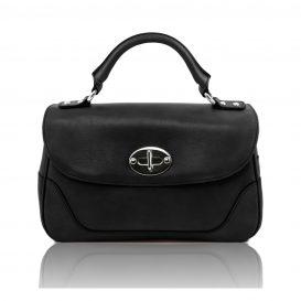 イタリア製アップロード先:カーフレザーのクラシカル・ハンドバッグ、黒、ブラック