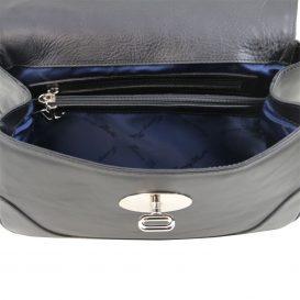イタリア製フルグレインレザーのクラシカルハンドバッグTL NEOCLASSIC、ブラック、詳細1