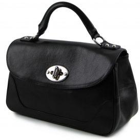 イタリア製アップロード先:カーフレザーのクラシカル・ハンドバッグ、黒、ブラック、詳細2