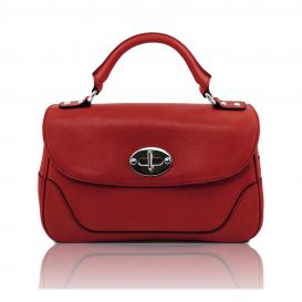 イタリア製アップロード先:カーフレザーのクラシカル・ハンドバッグ、レッド、赤