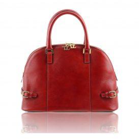 イタリア製ベジタブルタンニンレザーのハンドバッグ・レッド・赤