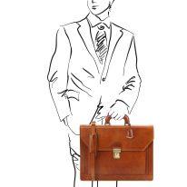 イタリア製ベジタブルタンニンレザーのビジネスバッグ ROMA、ハニー、詳細1