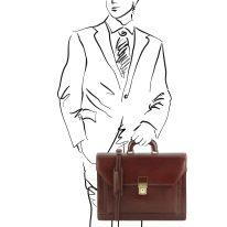 イタリア製ベジタブルタンニンレザーのビジネスバッグ ROMA、ブラウン、詳細1