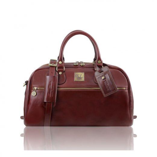 イタリア製本革ベジタブルタンニン革のスポーティーなボストンバッグ(小) TL VOYAGER・ブラウン・茶色