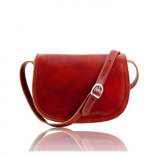 ISABELLAイタリア製 ベジタブルタンニンレザーのショルダーバッグ、レッド・赤