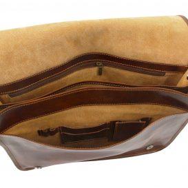 イタリア製ベジタブルタンニンレザーのメッセンジャーバッグMessenger Double、詳細6