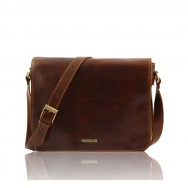 Messenger Double Freestyle - Borsa in Pelle Marronec
