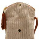 イタリア製タッセル付きショルダーバッグ 編み込み風スウェードTL Bag