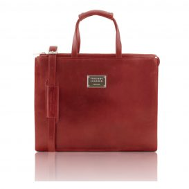 イタリア製ベジタブルタンニンレザーのビジネスバッグ PALERMO、レッド