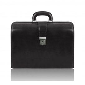 イタリア製ベジタブルタンニンレザーのダレスバッグ CANOVA、ブラック