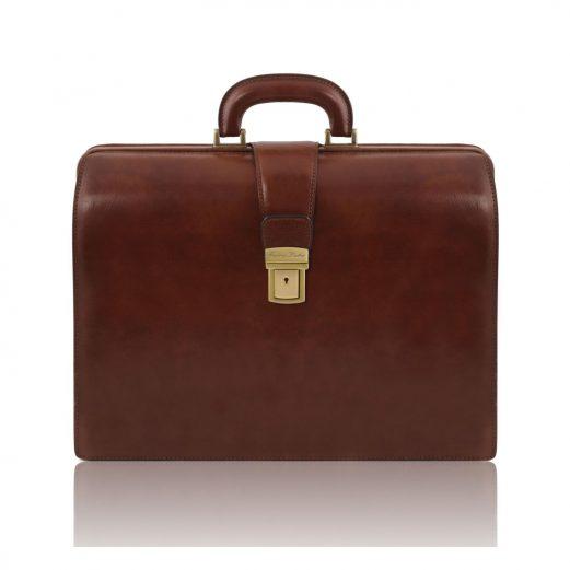 イタリア製ベジタブルタンニンレザーのダレスバッグ CANOVA、ブラウン