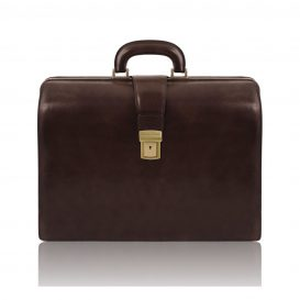 イタリア製ベジタブルタンニンレザーのダレスバッグ CANOVA、ダークブラウン