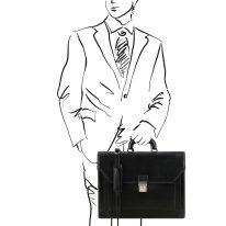 イタリア製ベジタブルタンニンレザーのビジネスバッグ NAPOLI、ブラック、詳細1