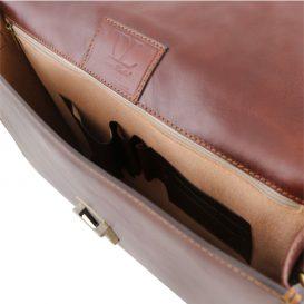 イタリア製ベジタブルタンニンレザーのビジネスバッグ AMALF、詳細4