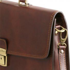 イタリア製ベジタブルタンニンレザーのビジネスバッグ AMALF、詳細6