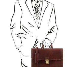 イタリア製ベジタブルタンニンレザーのビジネスバッグ AMALF、詳細8