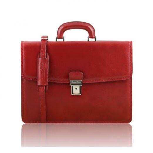 イタリア製ベジタブルタンニンレザーのビジネスバッグ AMALF、レッド、赤
