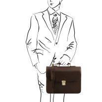 イタリア製ベジタブルタンニンレザーのビジネスバッグ VERNAZZA、ダークブラウン、詳細