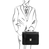 イタリア製ベジタブルタンニンレザーのビジネスバッグ VERNAZZA、ブラック、詳細