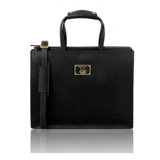 イタリア製サフィアーノレザーのビジネスバッグ PALERMO、ブラック、黒