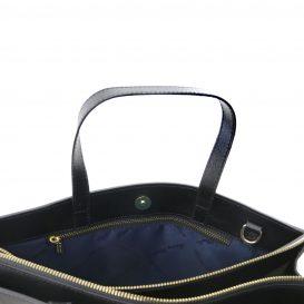 イタリア製サフィアーノレザーのビジネスバッグ PALERMO、ブラック、黒、詳細1