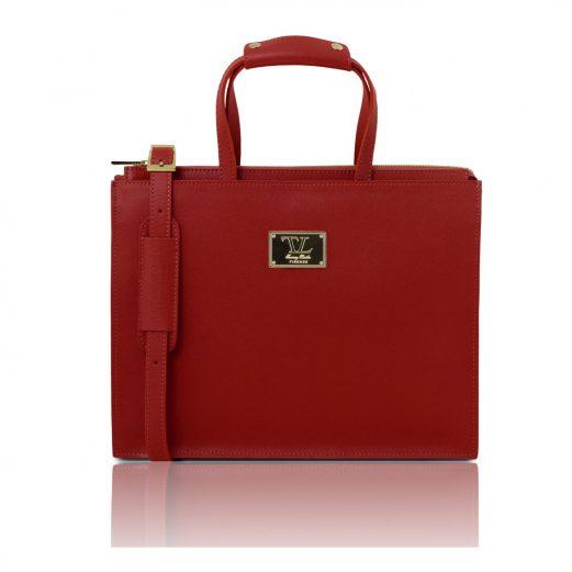 イタリア製サフィアーノレザーのビジネスバッグ PALERMO、レッド、赤