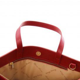 イタリア製サフィアーノレザーのビジネスバッグ PALERMO、レッド、赤、詳細1