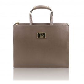 イタリア製サフィアーノレザーのビジネスバッグ、男女兼用ビジネスバッグ、ダークトープ、トープ、グレイ、グレージュ、ベージュグレイ