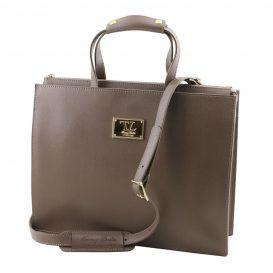 イタリア製サフィアーノレザーのビジネスバッグ、男女兼用ビジネスバッグ、ダークトープ、トープ、グレイ、グレージュ、ベージュグレイ、詳細1