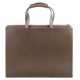 イタリア製サフィアーノレザーのビジネスバッグ、男女兼用ビジネスバッグ、ダークトープ、トープ、グレイ、グレージュ、ベージュグレイ、詳細2