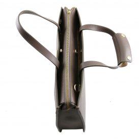 イタリア製サフィアーノレザーのビジネスバッグ、男女兼用ビジネスバッグ、ダークトープ、トープ、グレイ、グレージュ、ベージュグレイ、詳細3