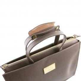 イタリア製サフィアーノレザーのビジネスバッグ、男女兼用ビジネスバッグ、ダークトープ、トープ、グレイ、グレージュ、ベージュグレイ、詳細4