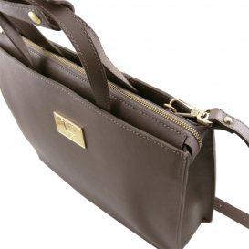 イタリア製サフィアーノレザーのビジネスバッグ、男女兼用ビジネスバッグ、ダークトープ、トープ、グレイ、グレージュ、ベージュグレイ、詳細5