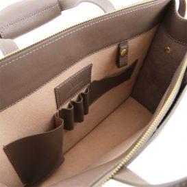 イタリア製サフィアーノレザーのビジネスバッグ、男女兼用ビジネスバッグ、ダークトープ、トープ、グレイ、グレージュ、ベージュグレイ、詳細6