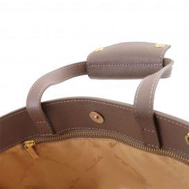イタリア製サフィアーノレザーのビジネスバッグ、男女兼用ビジネスバッグ、ダークトープ、トープ、グレイ、グレージュ、ベージュグレイ、詳細7