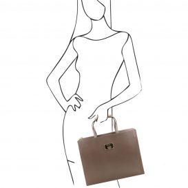 イタリア製サフィアーノレザーのビジネスバッグ、男女兼用ビジネスバッグ、ダークトープ、トープ、グレイ、グレージュ、ベージュグレイ、詳細8