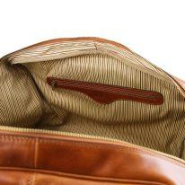 イタリア製ベジタブルタンニンレザーのフロントポケット付きボストンバッグTL VOYAGER、詳細6
