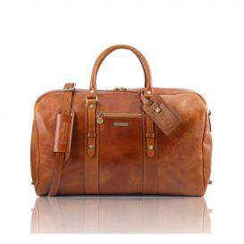 イタリア製ベジタブルタンニンレザーのフロントポケットつき旅行ボストンバッグ、ハニー、キャメル