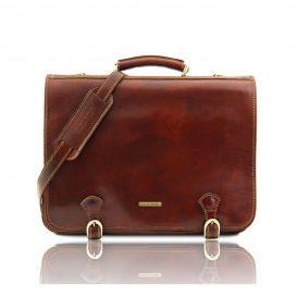 イタリア製ベジタブルタンニンレザーのビジネスバッグ ANCONA、ブラウン