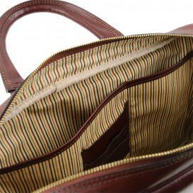 イタリア製男女兼用ベジタブルタンニンレザーのPC搬送ビジネスバッグ、ブラウン、茶色、詳細4
