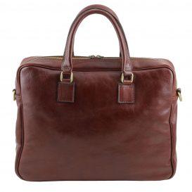 イタリア製男女兼用ベジタブルタンニンレザーのPC搬送ビジネスバッグ、ブラウン、茶色、詳細6