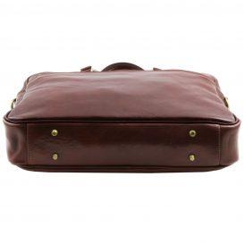 イタリア製男女兼用ベジタブルタンニンレザーのPC搬送ビジネスバッグ、ブラウン、茶色、詳細7