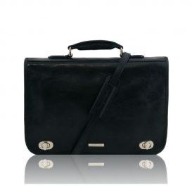 イタリア製CERTALDO ベジタブルタンニンレザーのビジネスバッグ、ブラック、黒